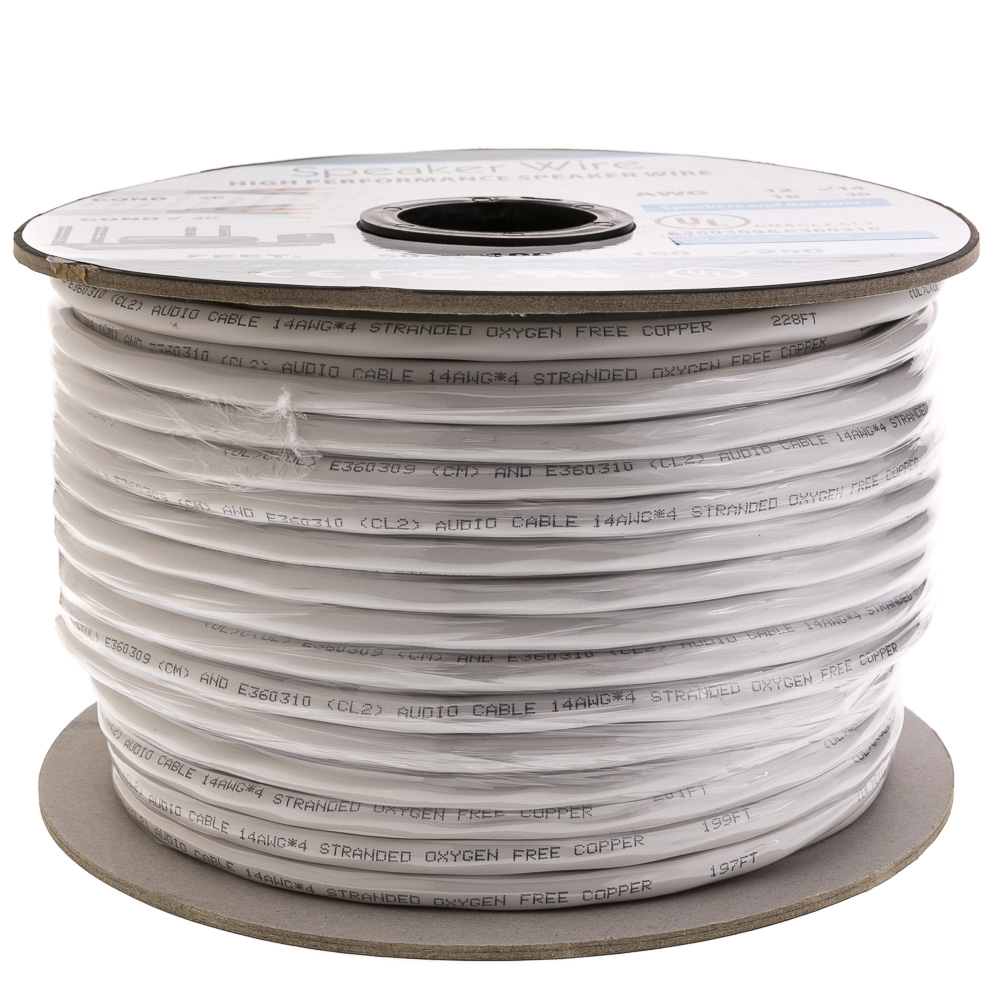 250ft Stranded Copper 14/2 White Speaker Cable