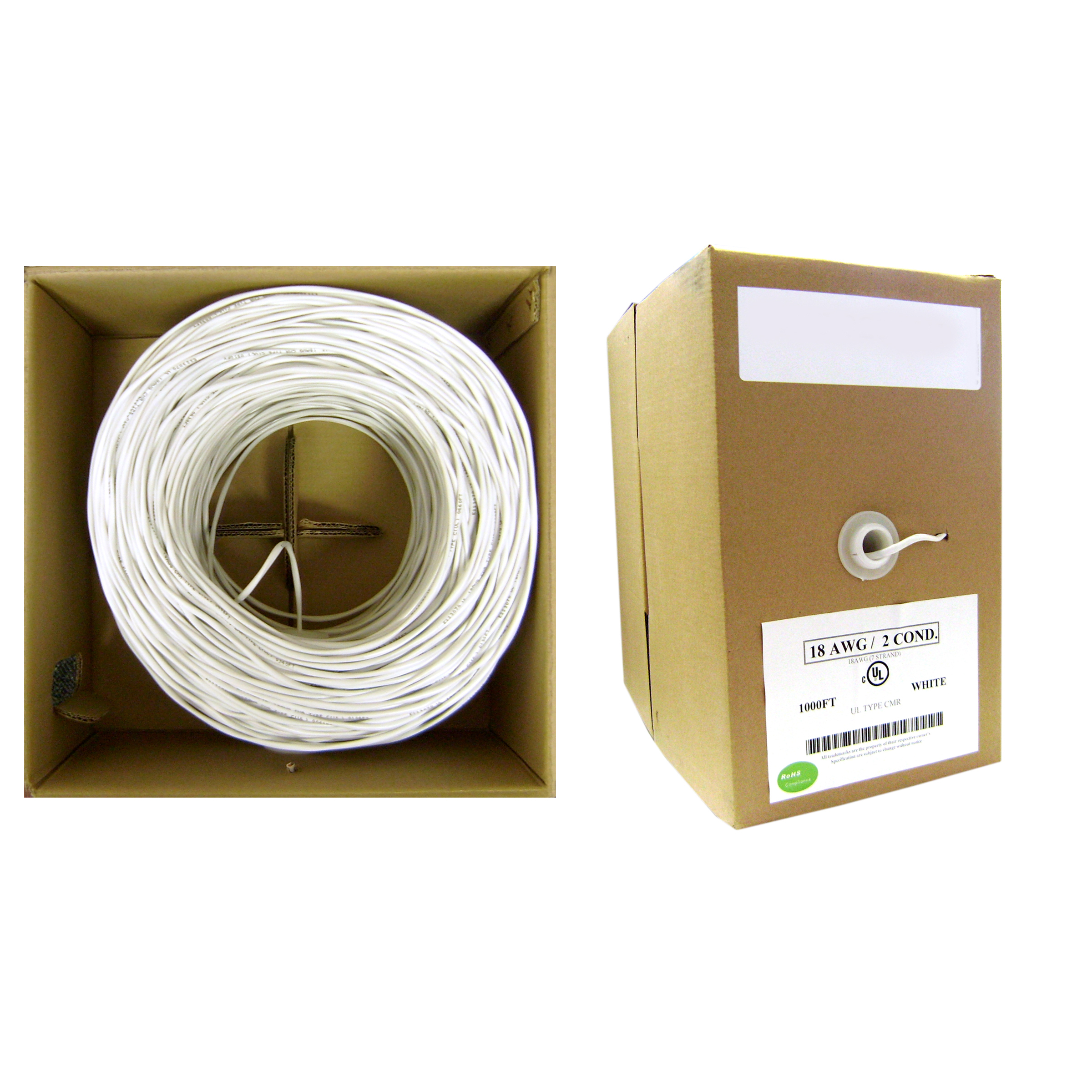 1000ft 22/4 White Security/Alarm Wire | CM | Solid