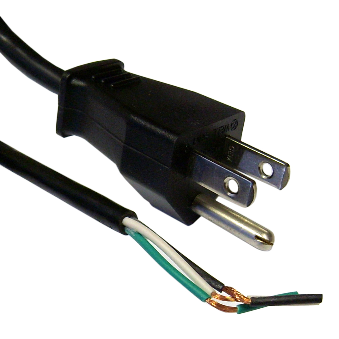 3-Prong Power Cord with Open Wiring - 6 ft.