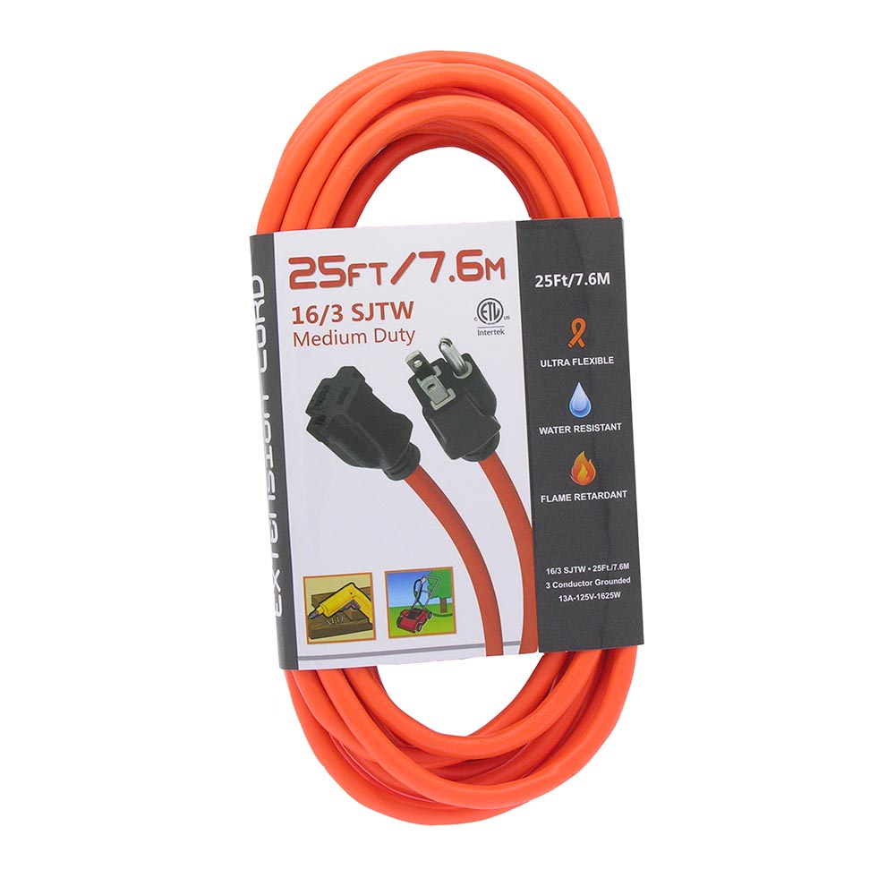 Power Extension Cord Outdoor Rated Orange 16awg 25ft
