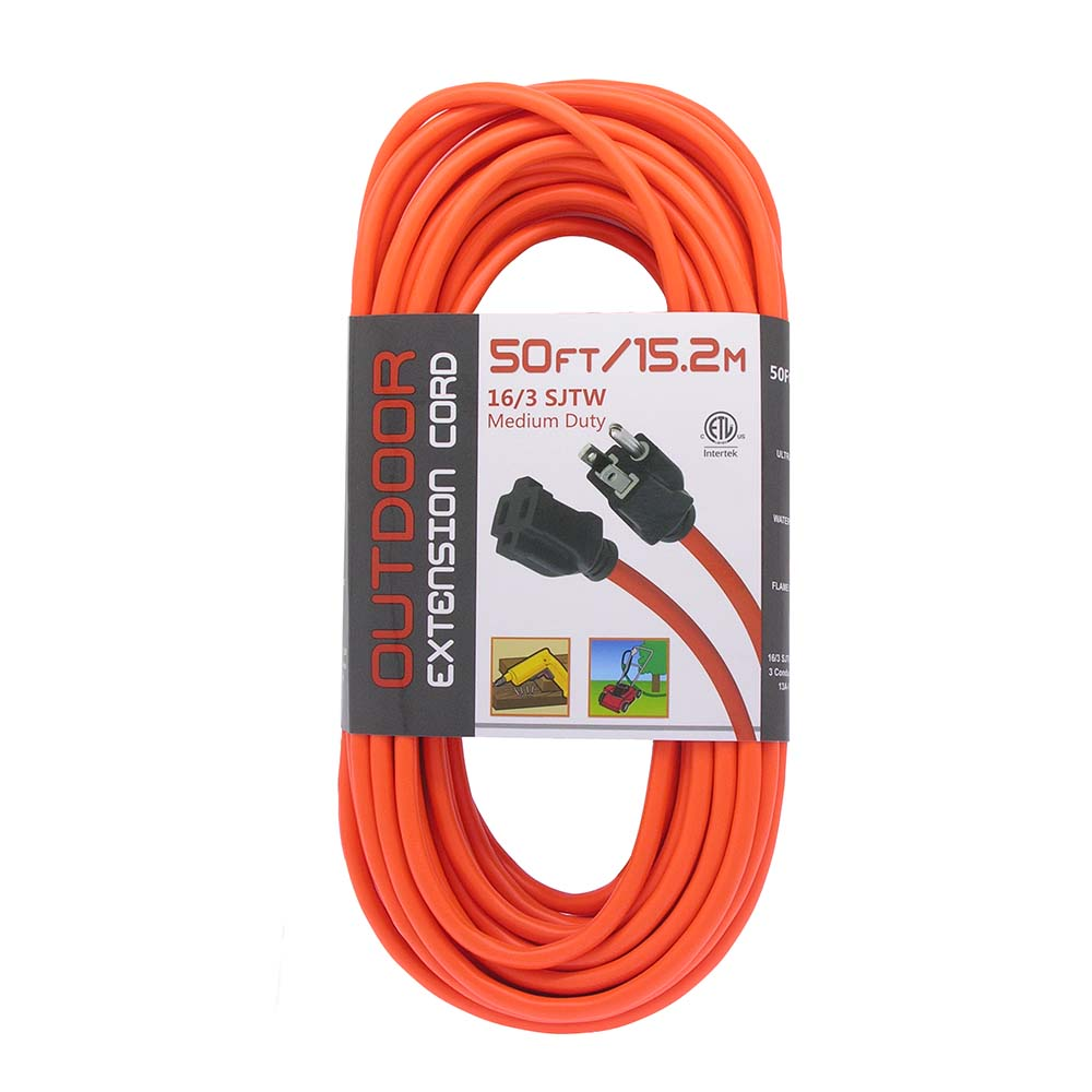 50ft Orange Outdoor Power Extension Cord, 13 Amp, UL/CSA