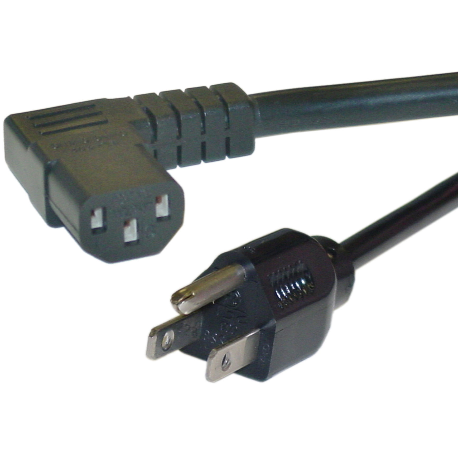 25ft Right Angle Black Computer Power Cord, 14 AWG