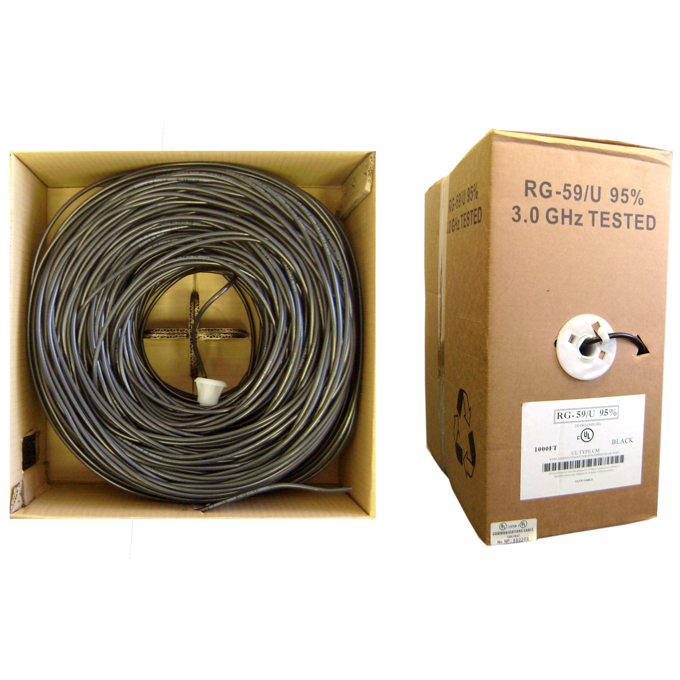 1000ft Black Bulk RG59/U Coaxial Cable, 20 AWG, Pullbox