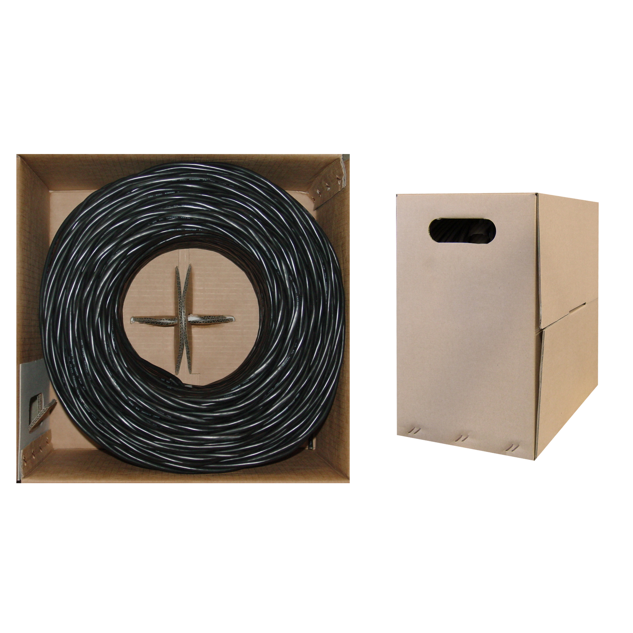 Cat5e Ethernet Cable Stranded Copper Black Pullbox 1000ft