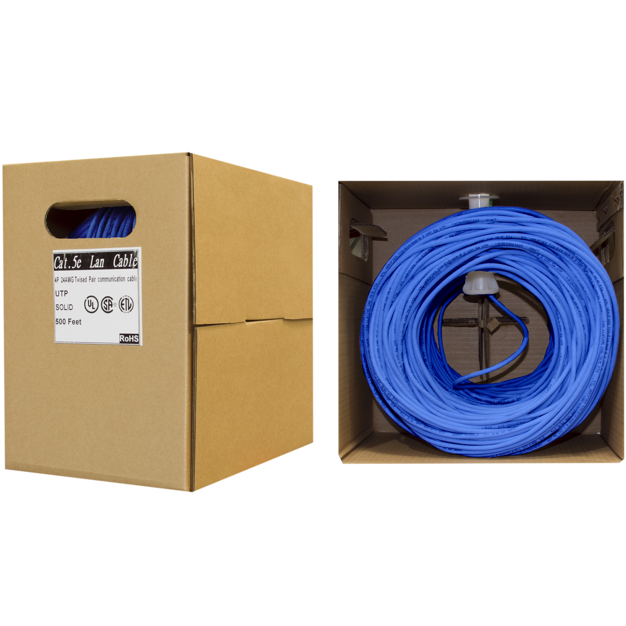 Cat5e Ethernet Cable Solid Copper Blue Pullbox 500ft