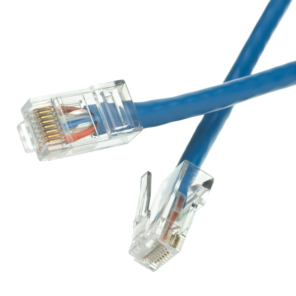 20ft cat5e blue ethernet patch cable bootless. Black Bedroom Furniture Sets. Home Design Ideas