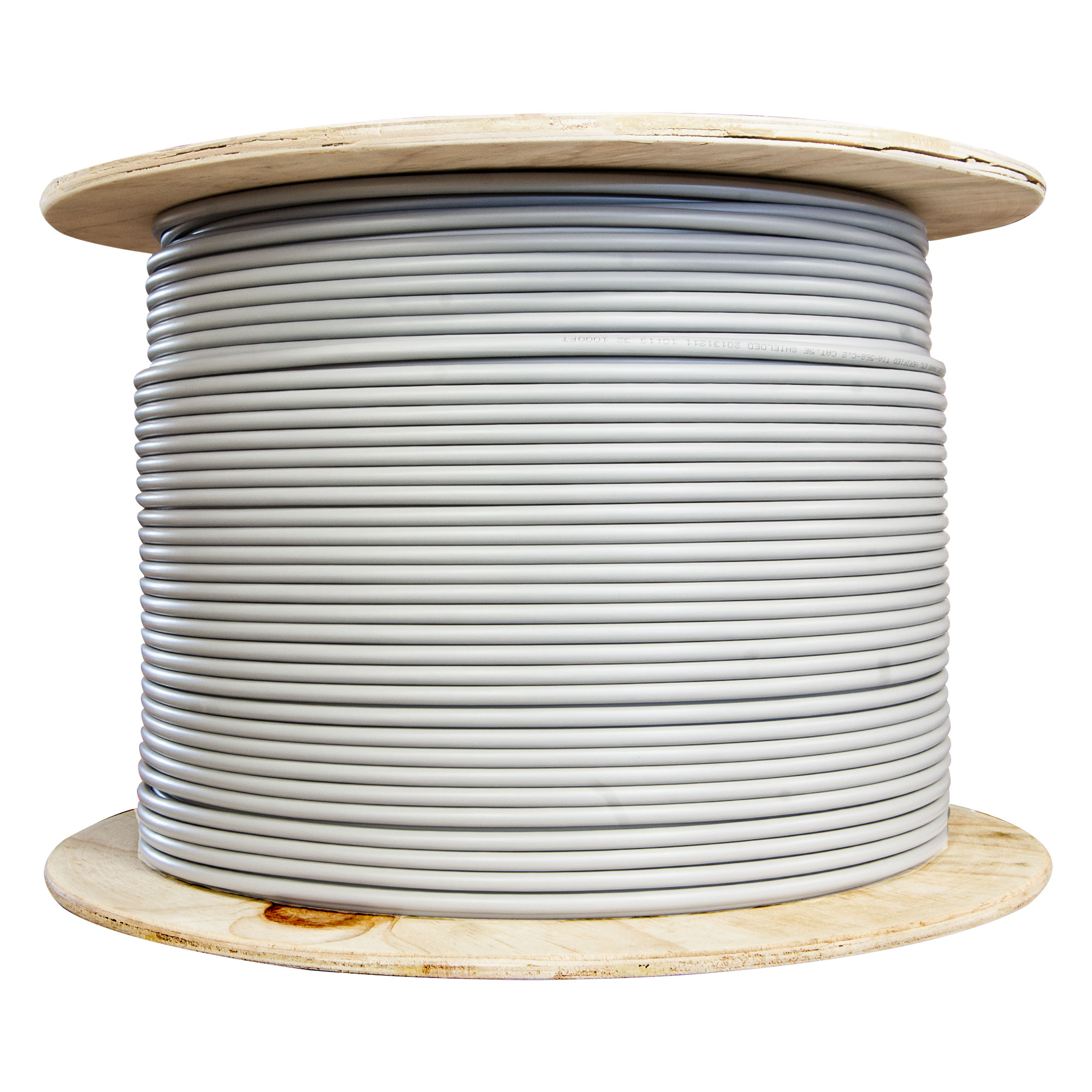 1000ft Shielded Cat5e Gray Ethernet Cable Solid Spool