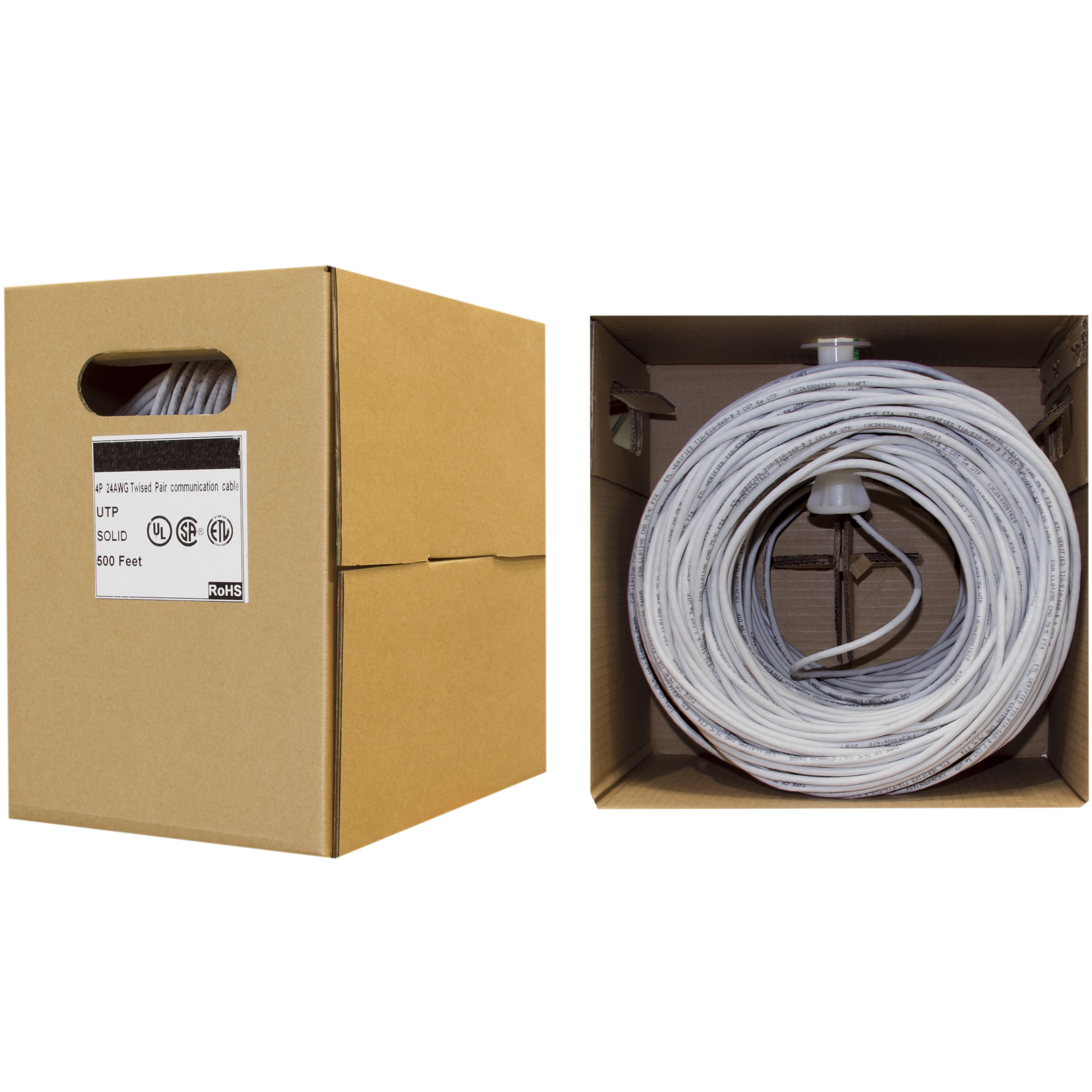 Cat6 Ethernet Cable Solid Copper Gray Pullbox 500ft