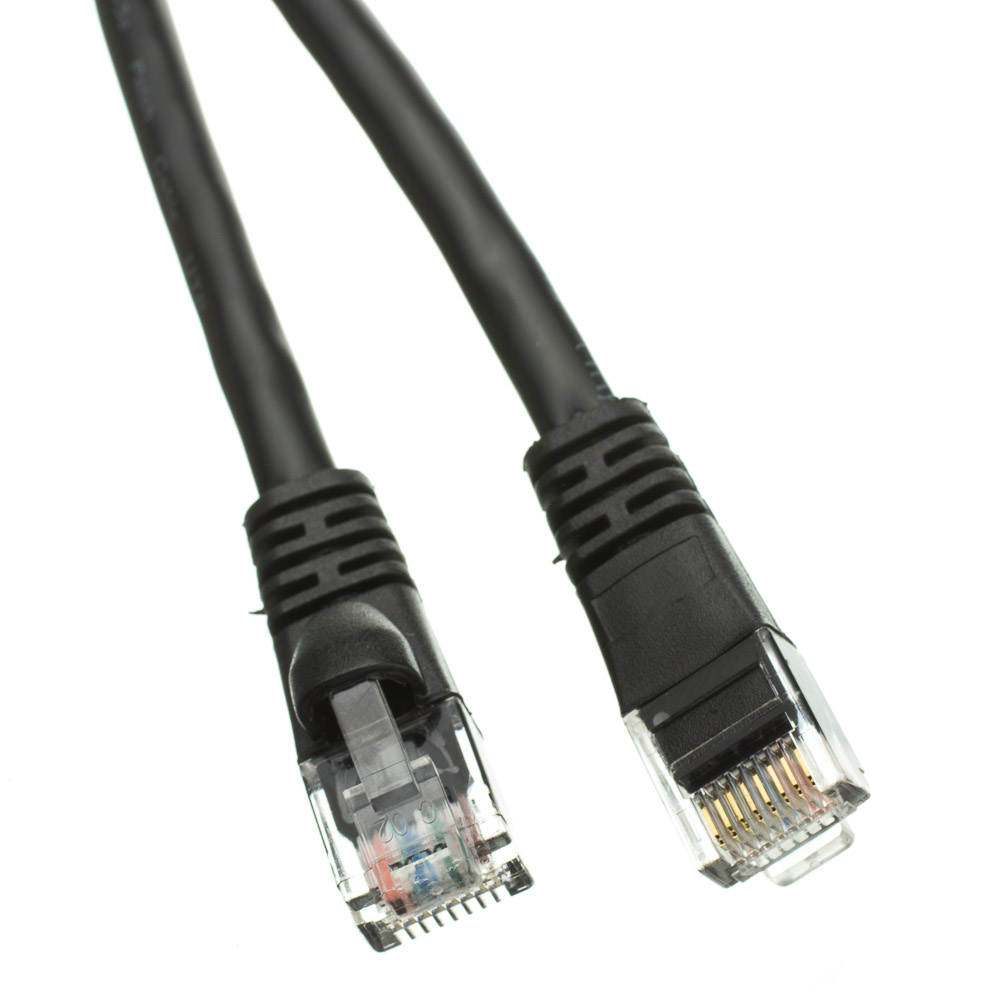 6 Inch Cat6 Black Ethernet Patch Cable Snagless Molded Boot