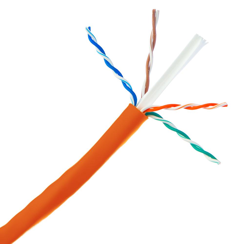 Cat6 Ethernet Cable Stranded Copper Orange Pullbox 1000ft