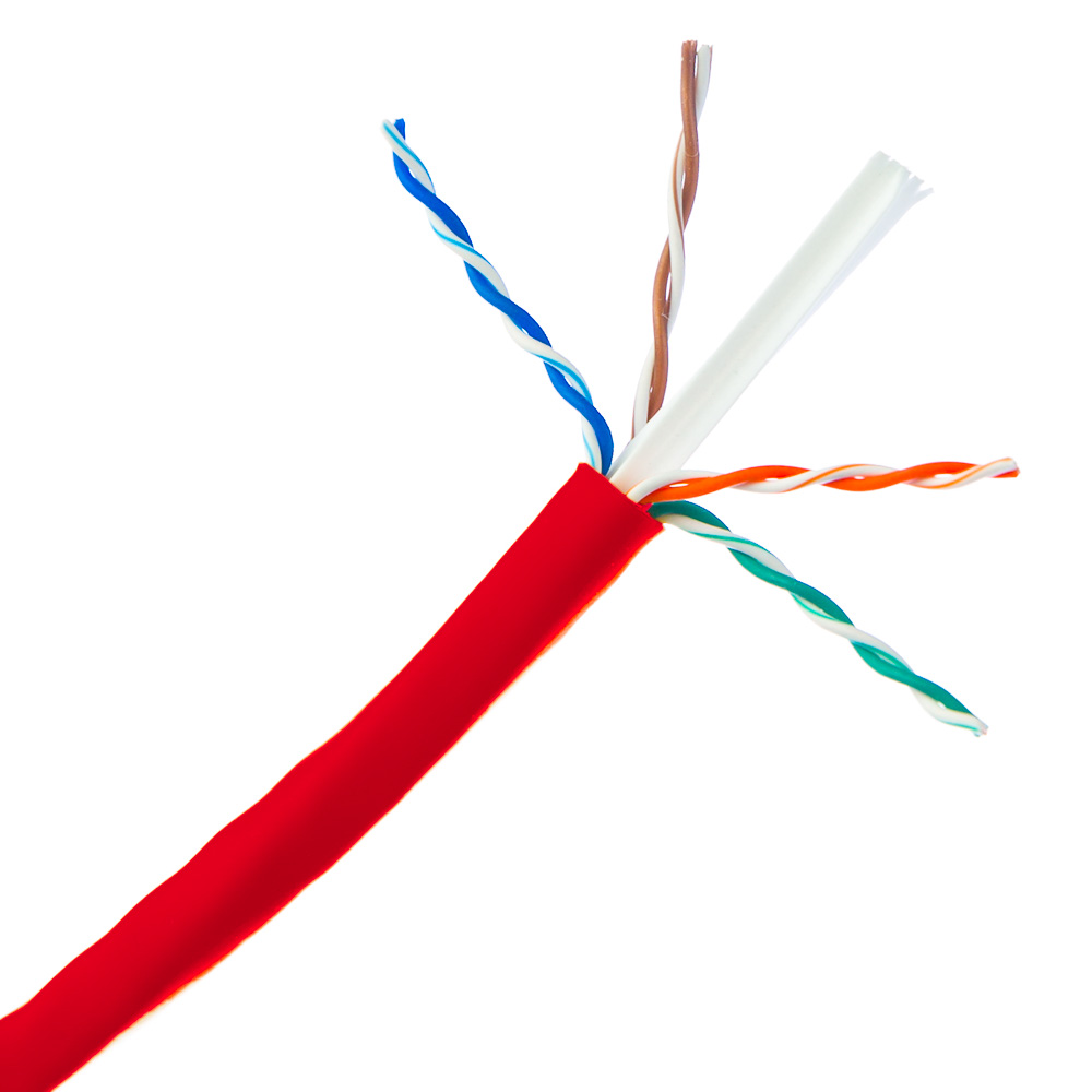1000ft Plenum Red Solid Cat6 Bulk Cable Utp Cmp 23 Awg