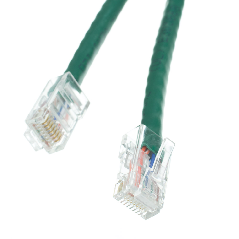 1ft Cat6 Green Ethernet Patch Cable Bootless