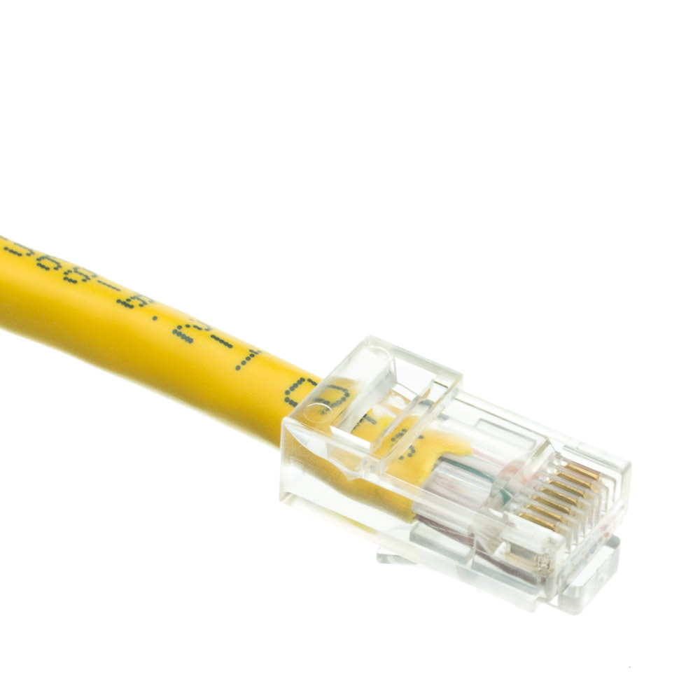 2ft Cat6 Yellow Ethernet Patch Cable Bootless