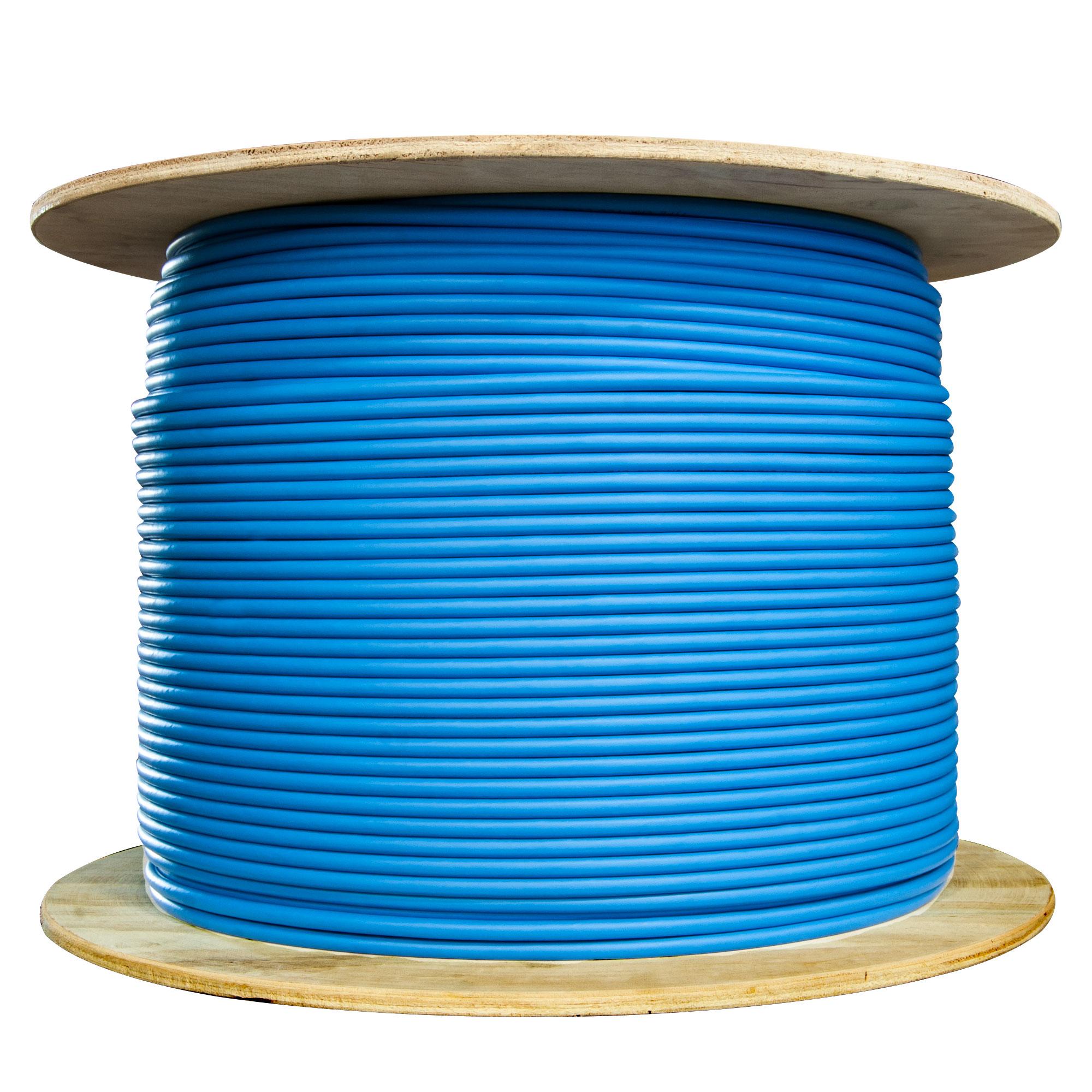 1000ft Plenum Cat6 Bulk Cable Solid Shielded Blue