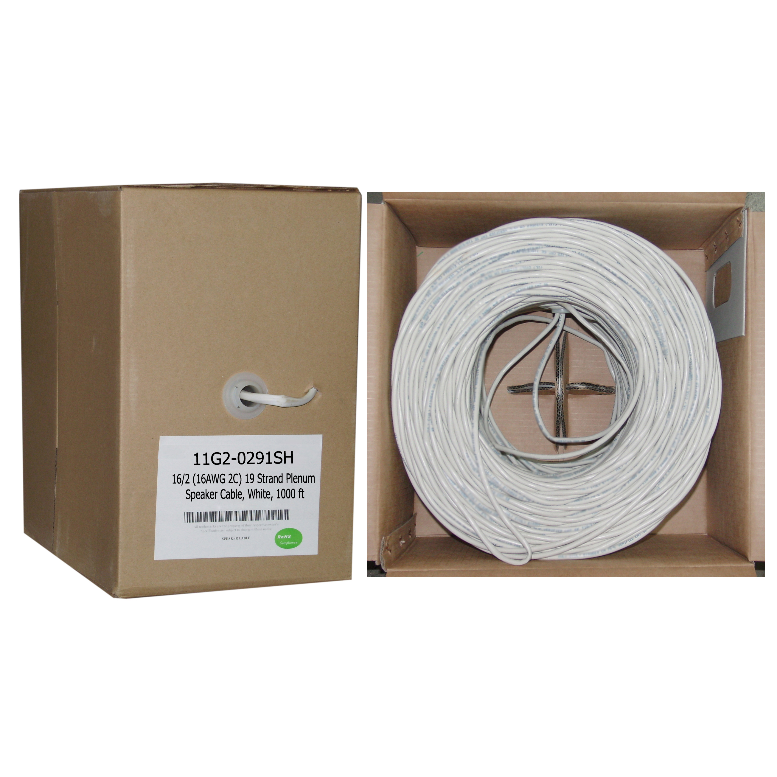 plenum speaker cable white pure copper 162 16 awg 2