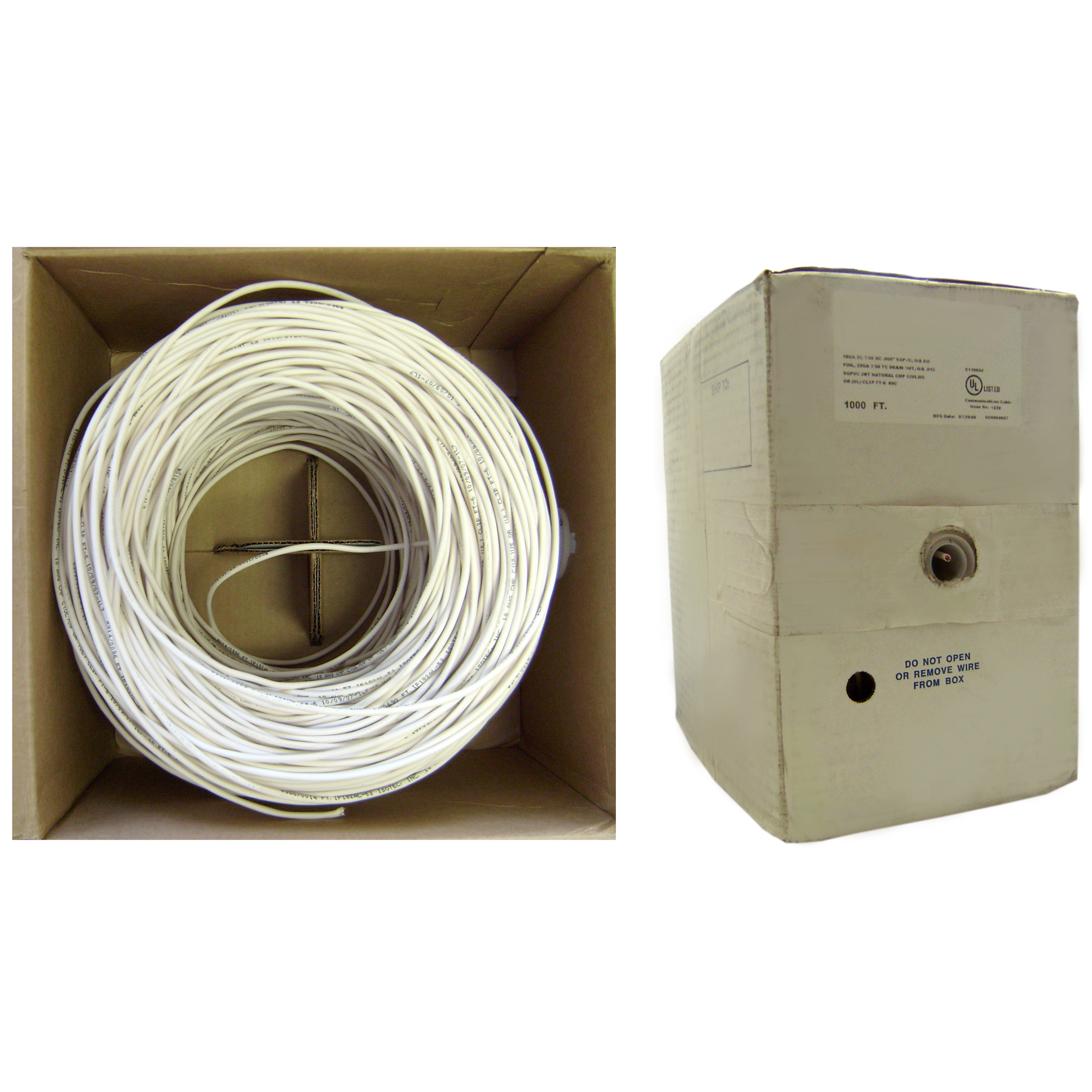 1000ft Shielded Plenum White Security Cable | 22/4 Stranded