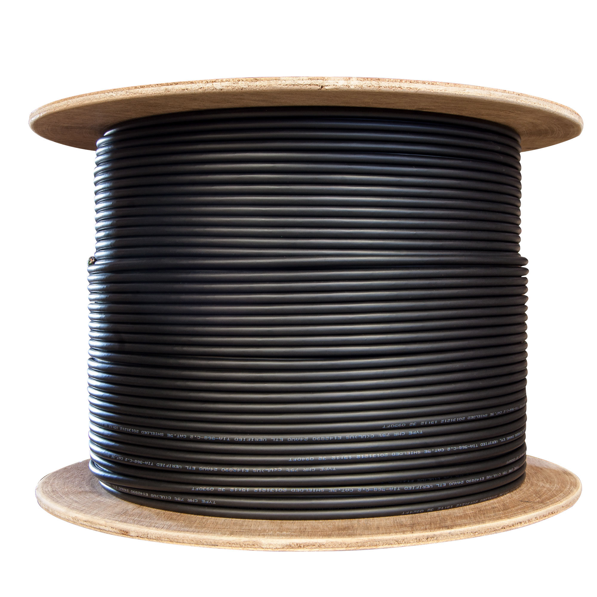 1000ft Plenum Black Cat6 Bulk Cable Solid 23 Awg