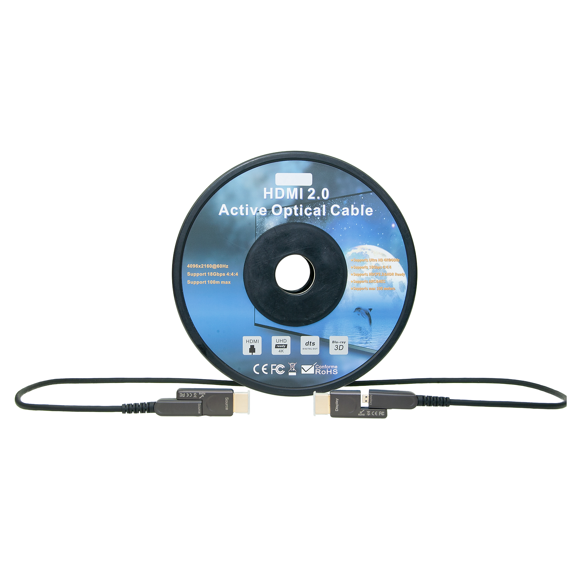 4K HDMI Active Optical Cable, AOC, Detachable Ends, 50m