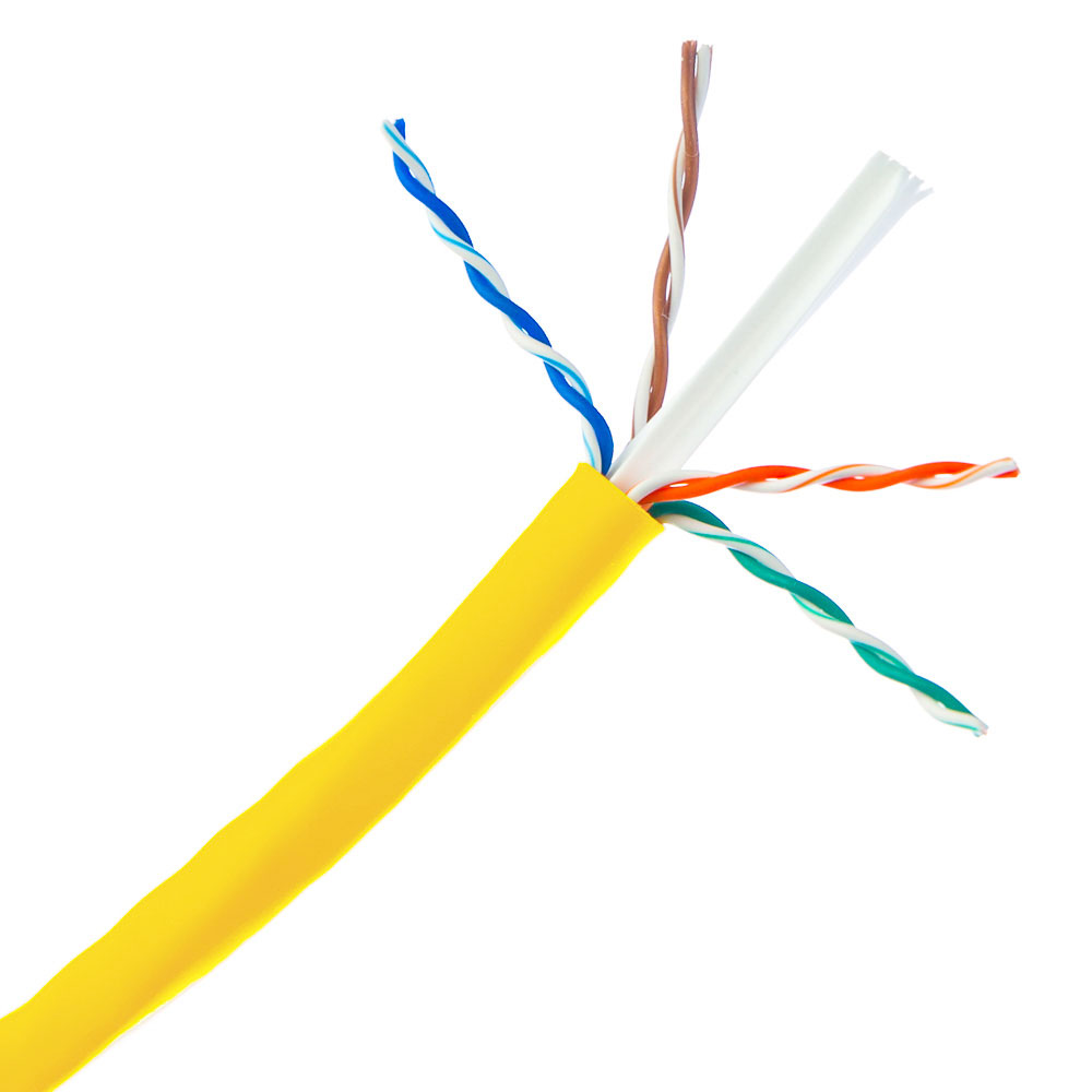 1000ft Plenum Yellow Solid Cat6a Cable, CMP, 23 AWG, Spool