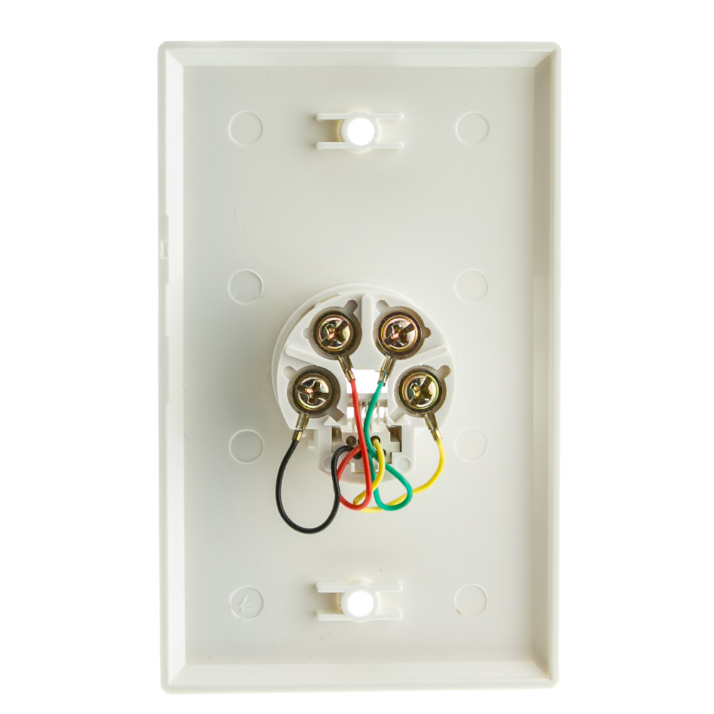 2 Line Telephone Wall Plate  White  Rj11  4 Conductor