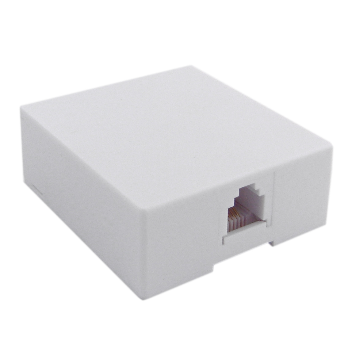 White Phone Surface Mount Jack Rj11 Rj12 Data Voice 6p6c