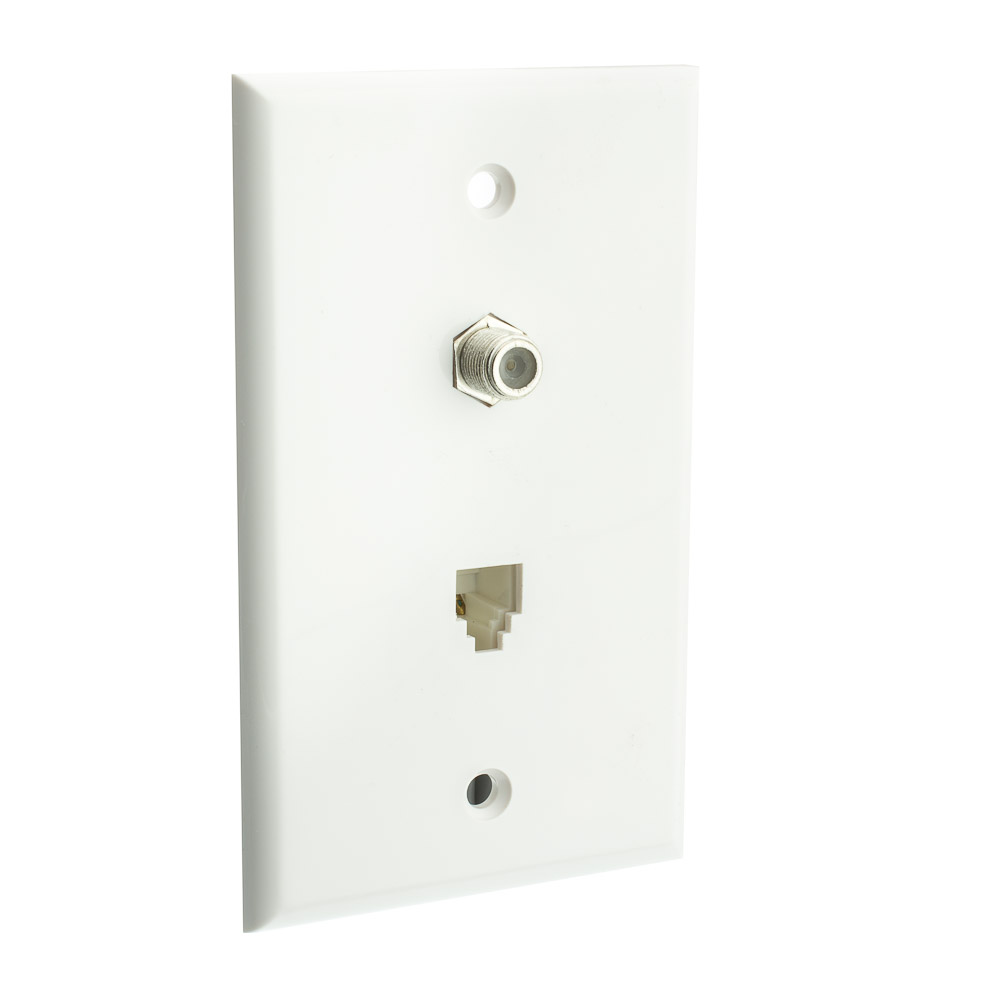 White Wall Plate Satellite Connector And Telephone Jack