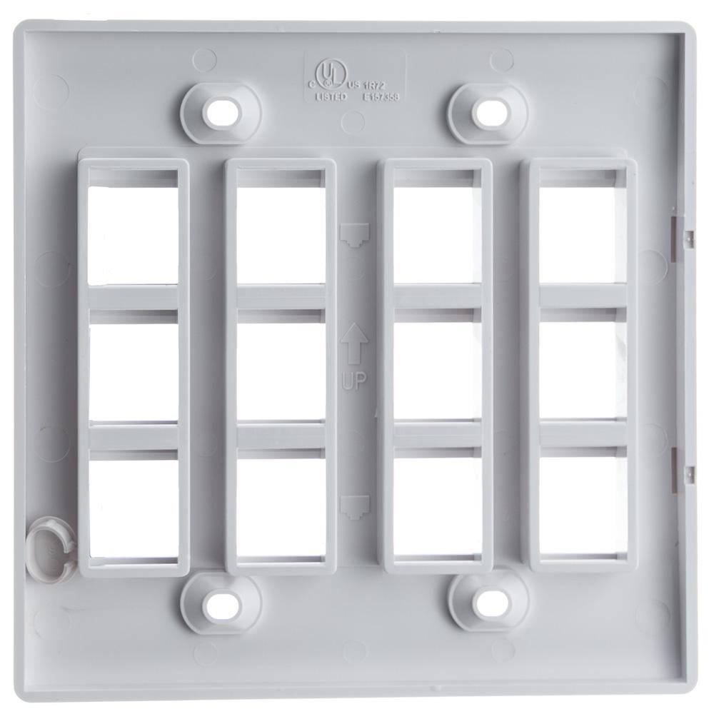 White Keystone Wall Plate 12 Hole Dual Gang