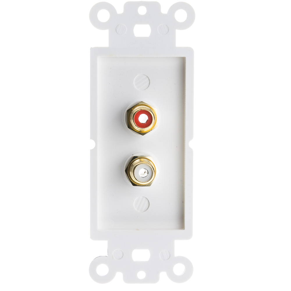 White Decora Wall Plate Insert Rca Stereo Red White