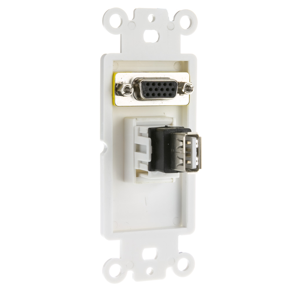 White Decora Wall Plate Insert Vga Usb Type A