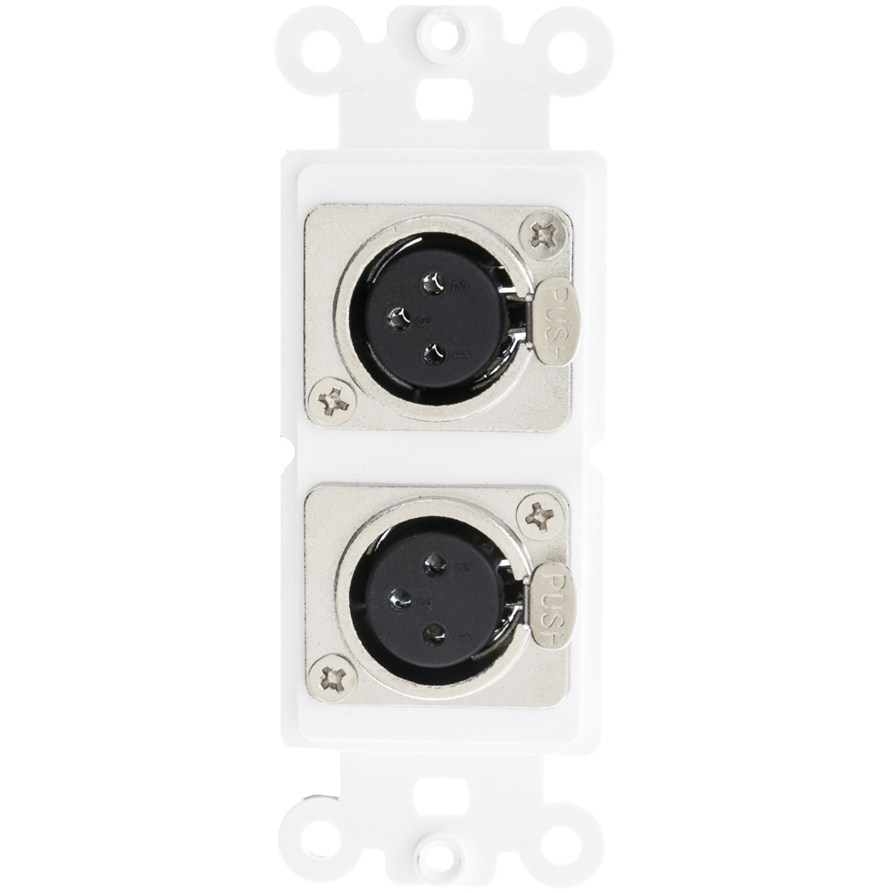 White Decora Wall Plate Insert Dual XLR Female Solder Type