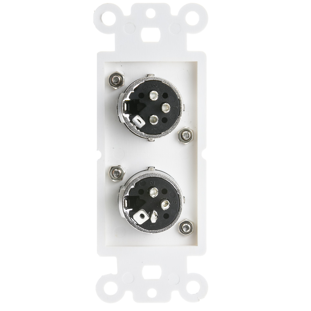 white decora wall plate insert dual xlr female solder type insert cable xlr wiring ethernet cable xlr wiring