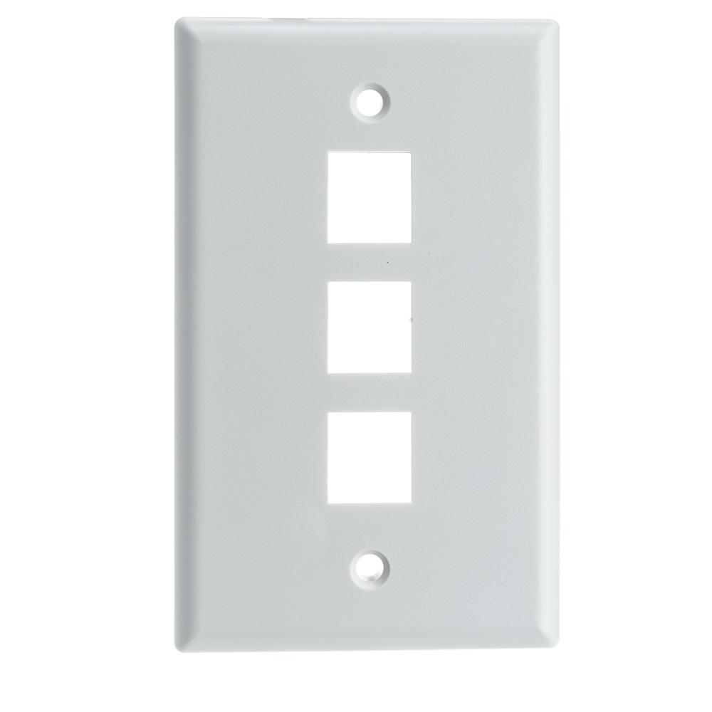 White Keystone Wall Plate 3 Hole Single Gang