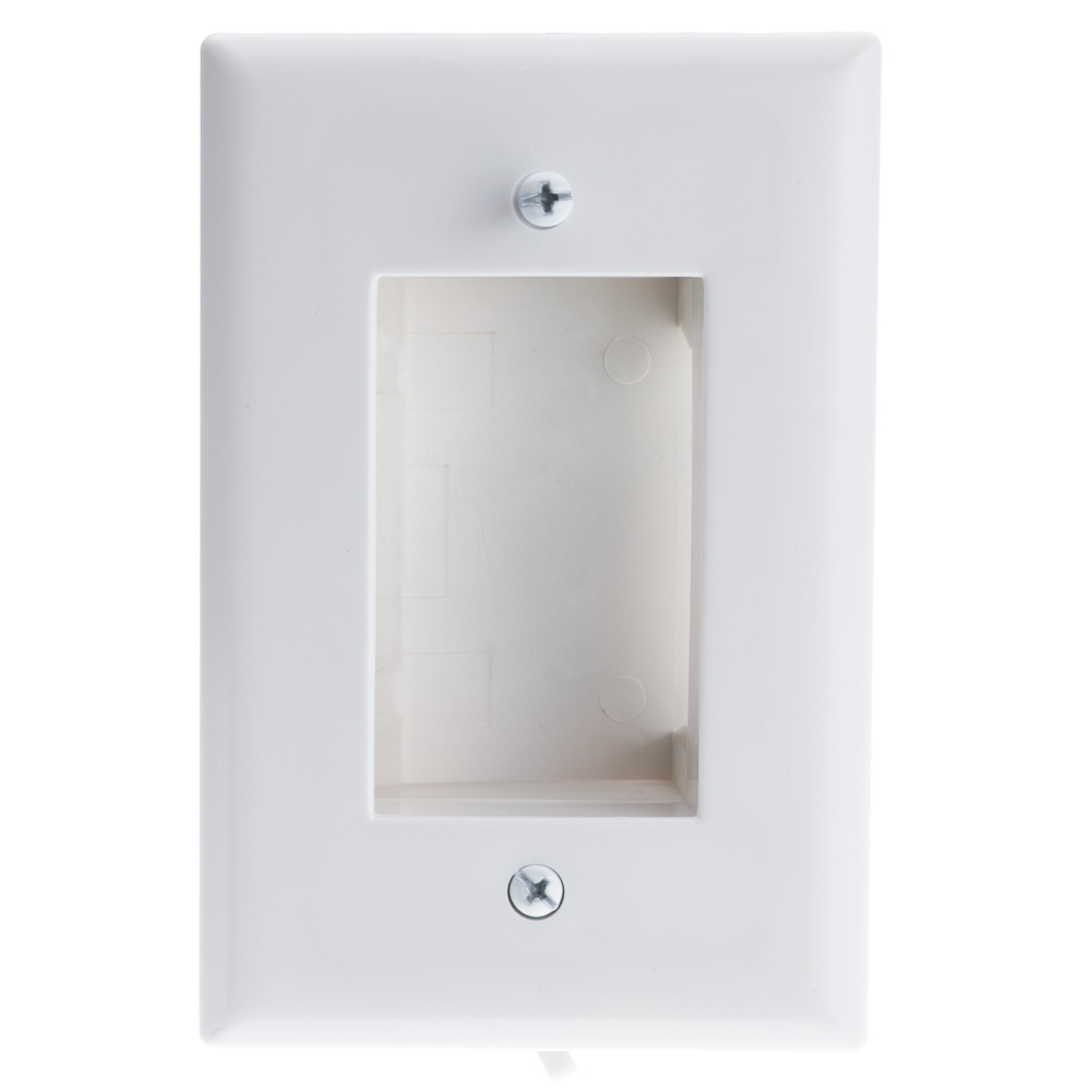 Wall Plate White Recessed for Easy Pass Through of Low Voltage Cable Slim  sc 1 st  CableWholesale & White Wall Plate Recessed Low Voltage Cable CableWholesale