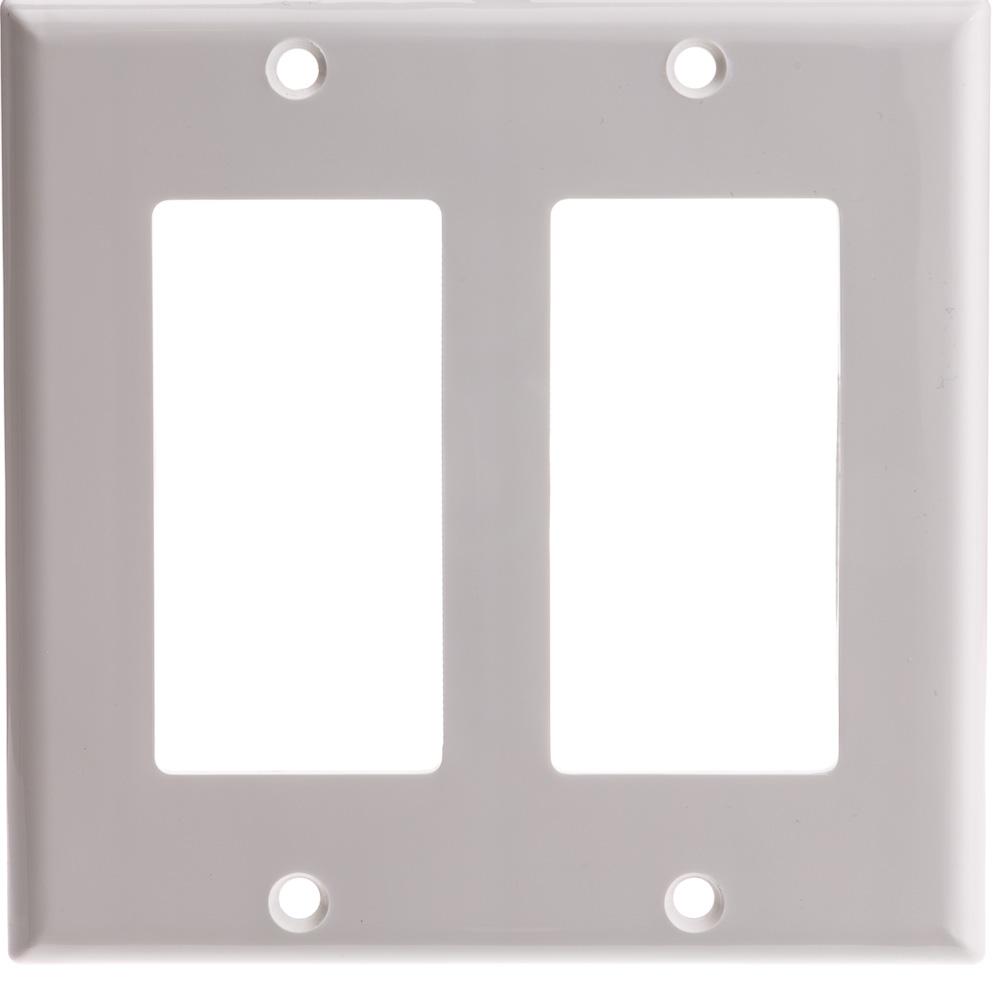 White Decora Wall Plate 2 Hole Dual Gang