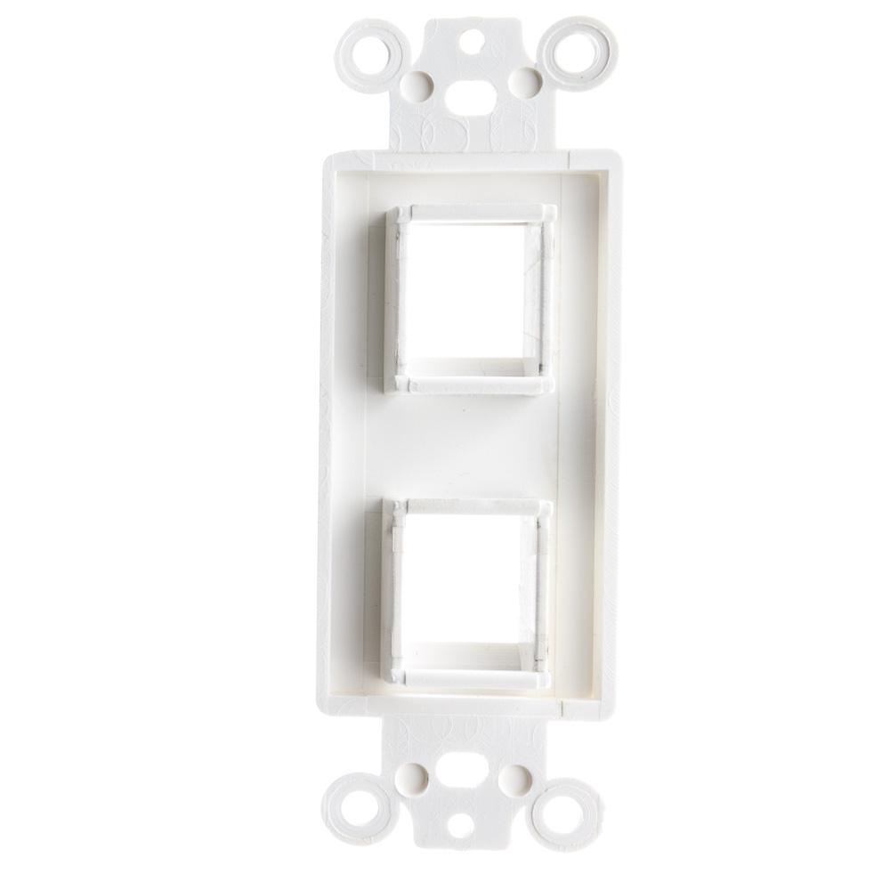 White Decora Wall Plate Insert 2 Hole For Keystone Jack
