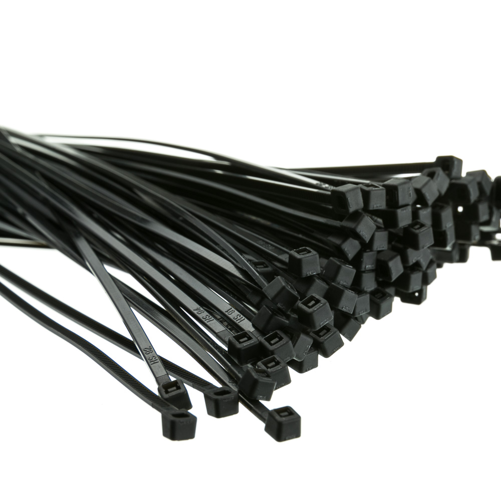 8 in Nylon Cable Tie, Black, 50 lbs weight limit, 100 Pieces
