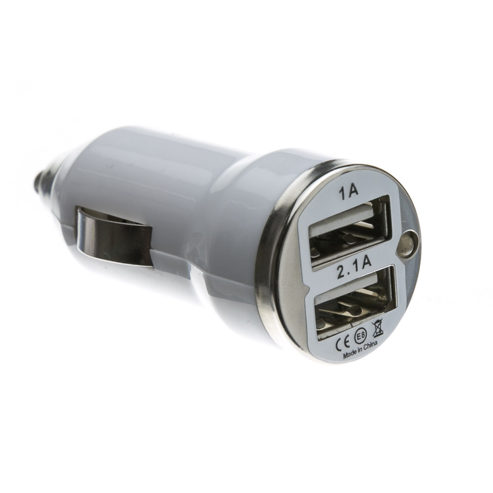 Usb 12v 2 1amp Car Charger For Use With Kindle Iphone Ipad: White 2 Port USB Car Charger 3.1 Amp Output, CableWholesale