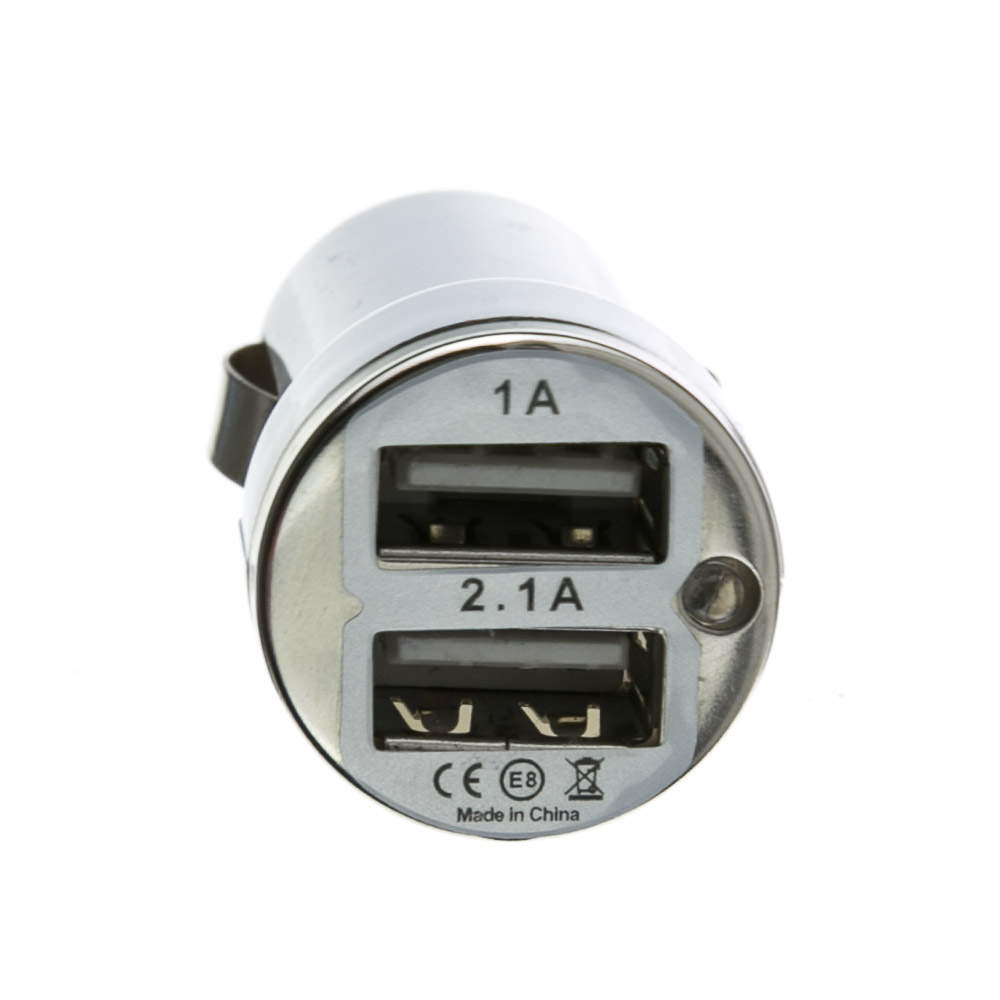 White 2 Port Usb Car Charger 3 1 Amp Output Cablewholesale