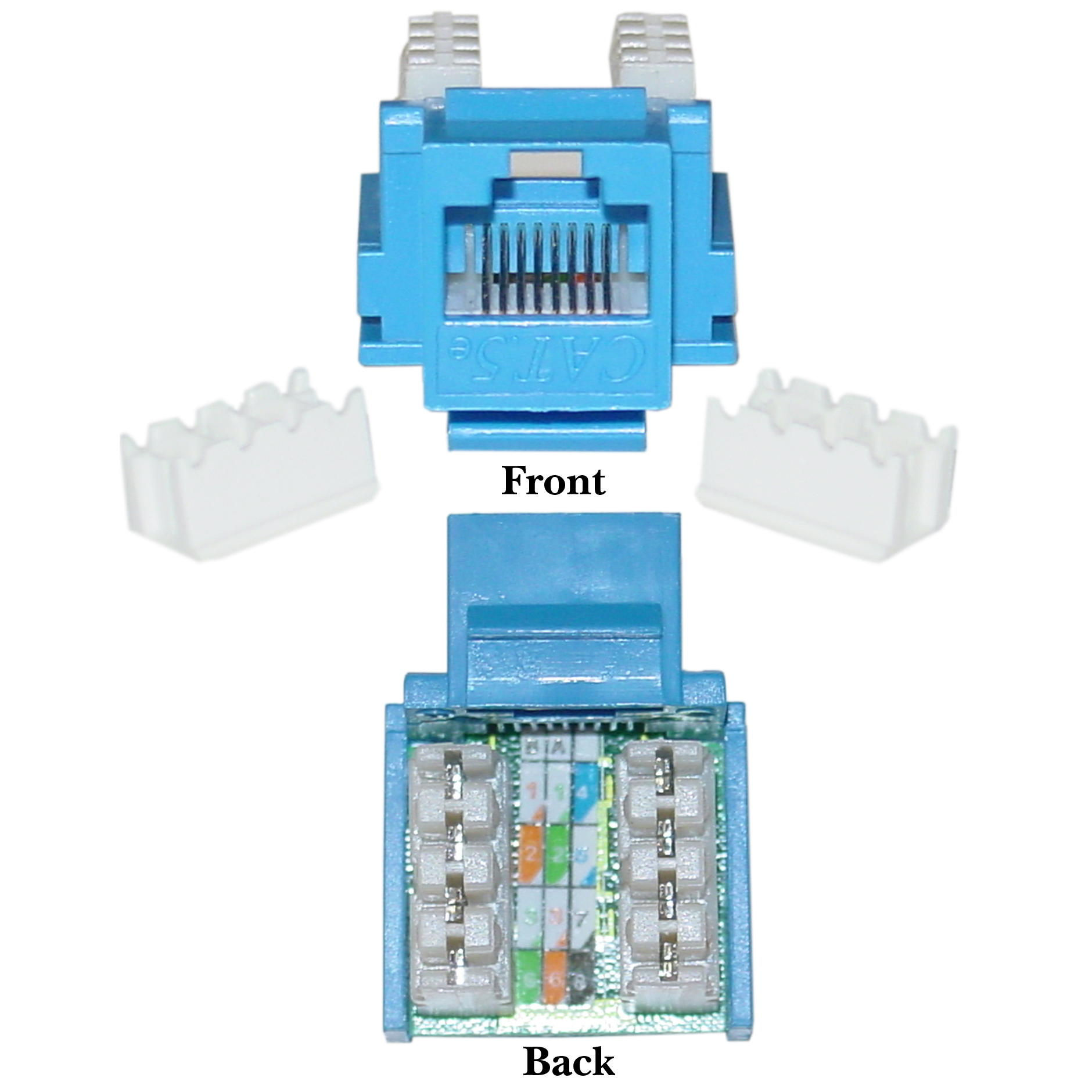 cat5e keystone jack, blue, rj45 female to 110 punch down - part number: 310-120bl rj45 keystone jack wiring diagram #14