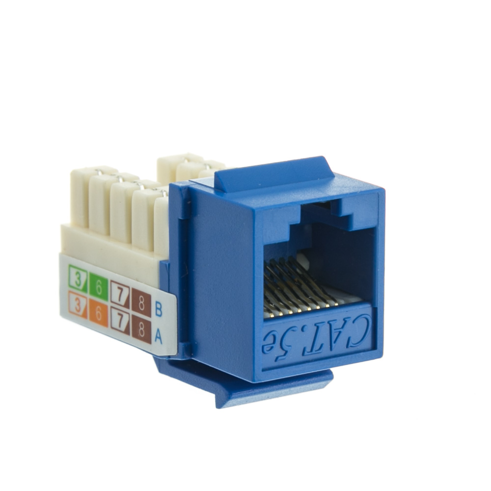 Blue Cat5e Keystone Rj45 Female To 110 Punch Down