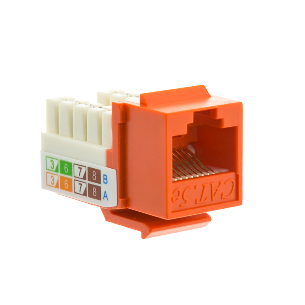 Cat5e Keystone Jack, Orange, RJ45 Female to 110 Punch Down - Part Number: