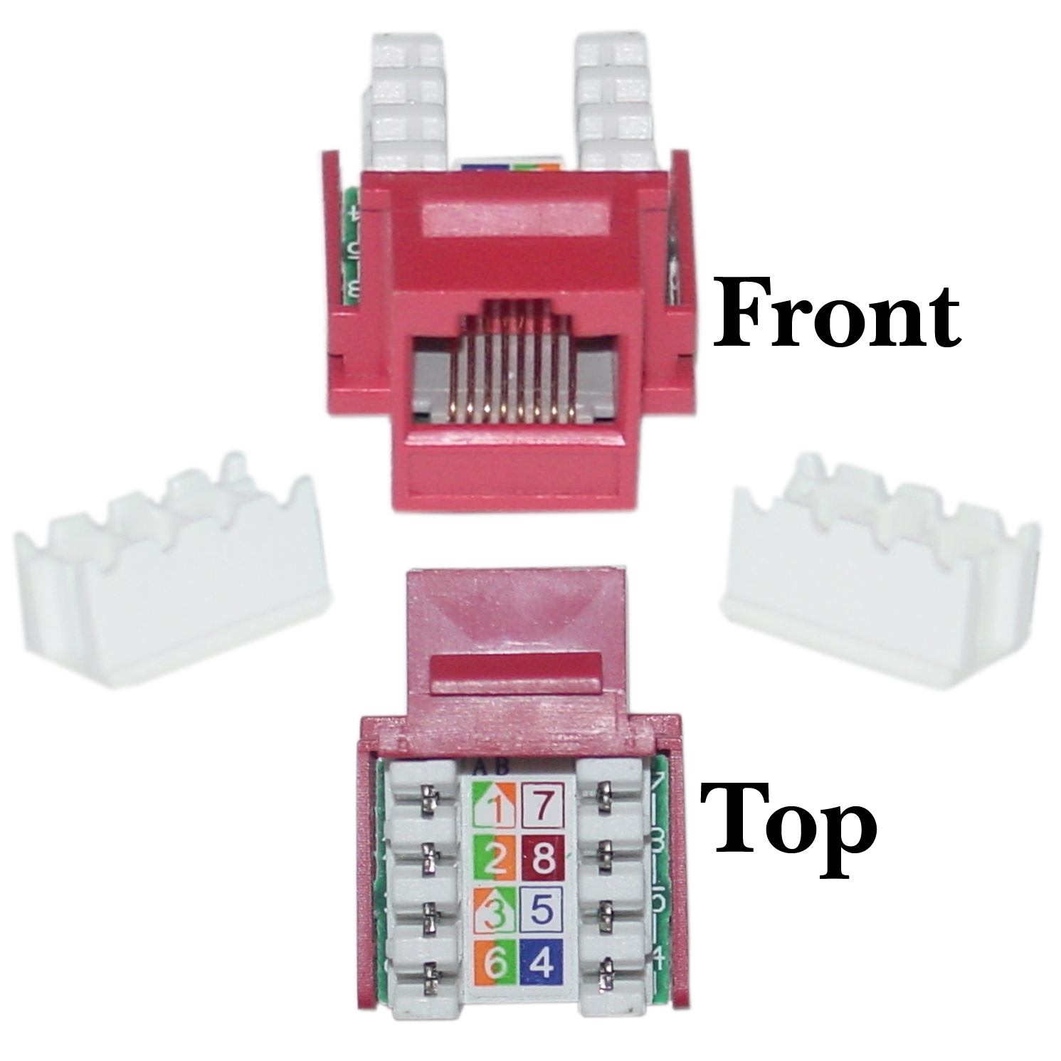 Cat5e Keystone Jack, Red, RJ45 Female to 110 Punch Down - Part Number: