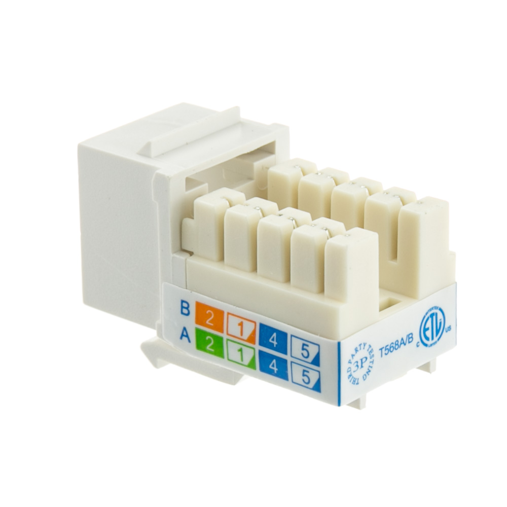 White Cat5e Keystone Rj45 Female To 110 Punch Down