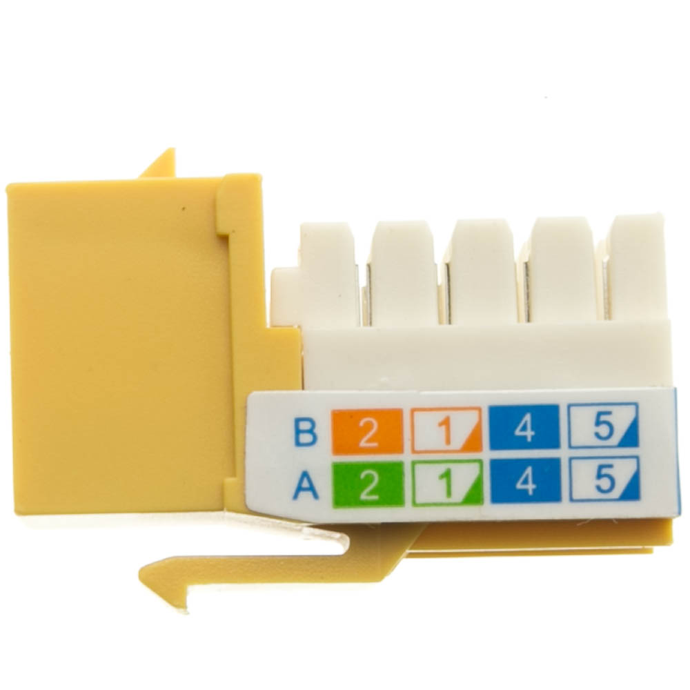 Yellow Cat5e Keystone Rj45 Female To 110 Punch Down