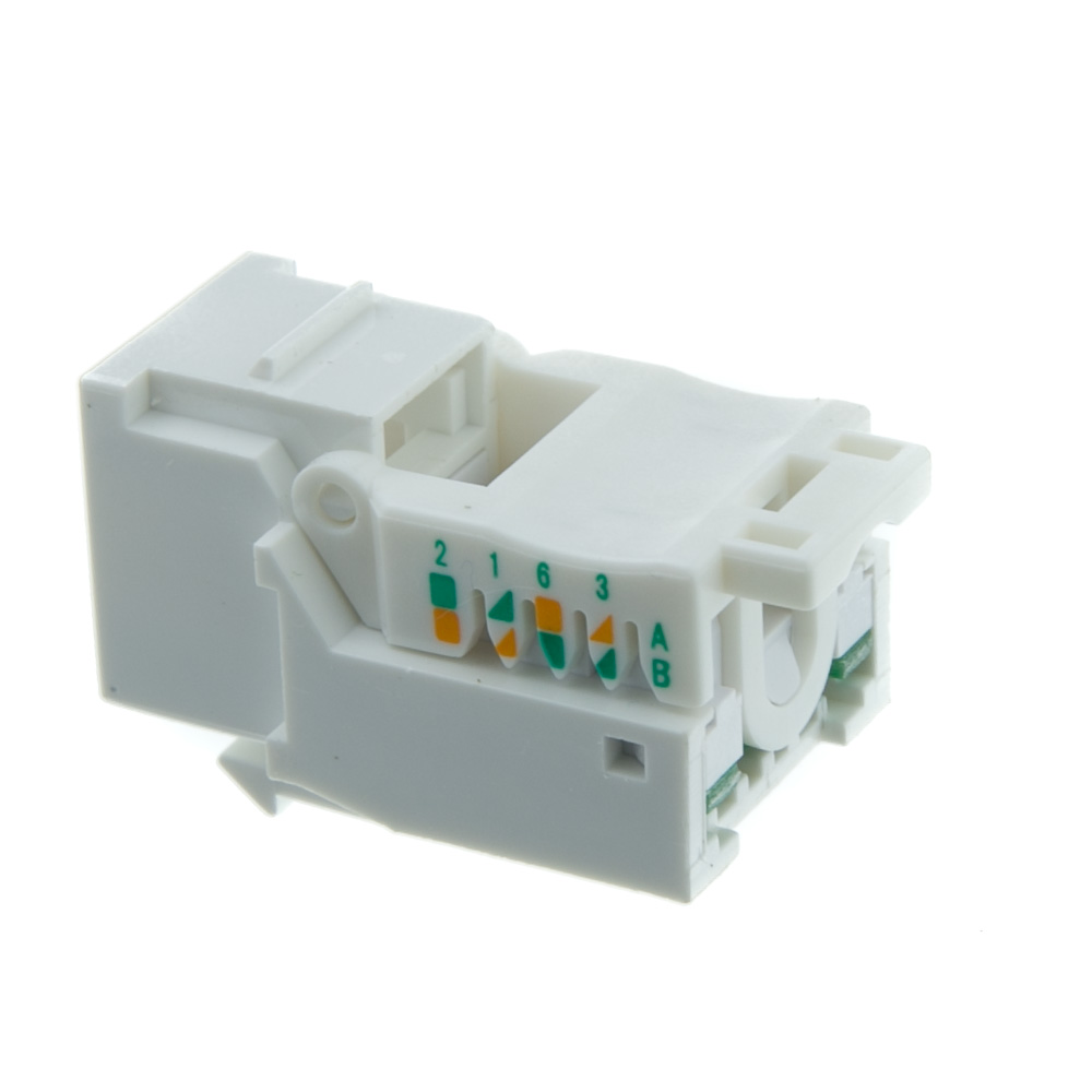White Cat5e Rj45 Keystone Jack Toolless