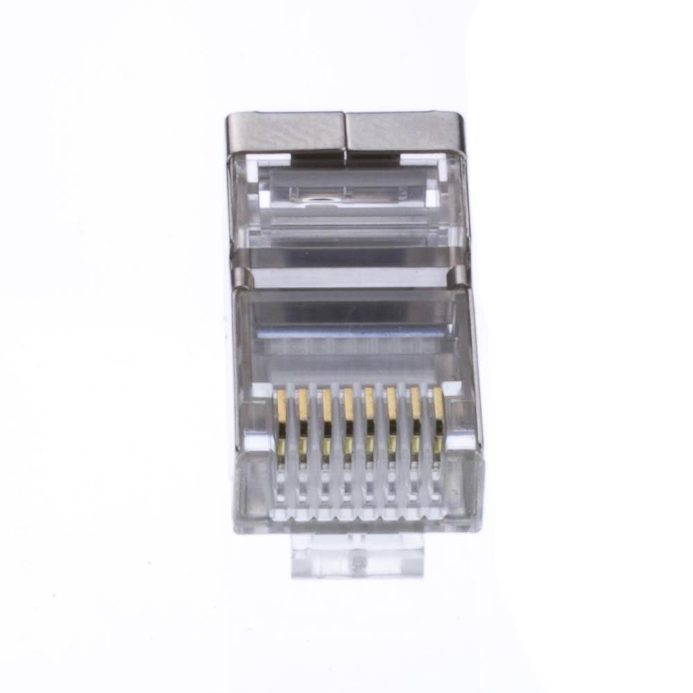 Cat5e Shielded Rj45 Crimp Connectors Solid Stranded 50 Pcs