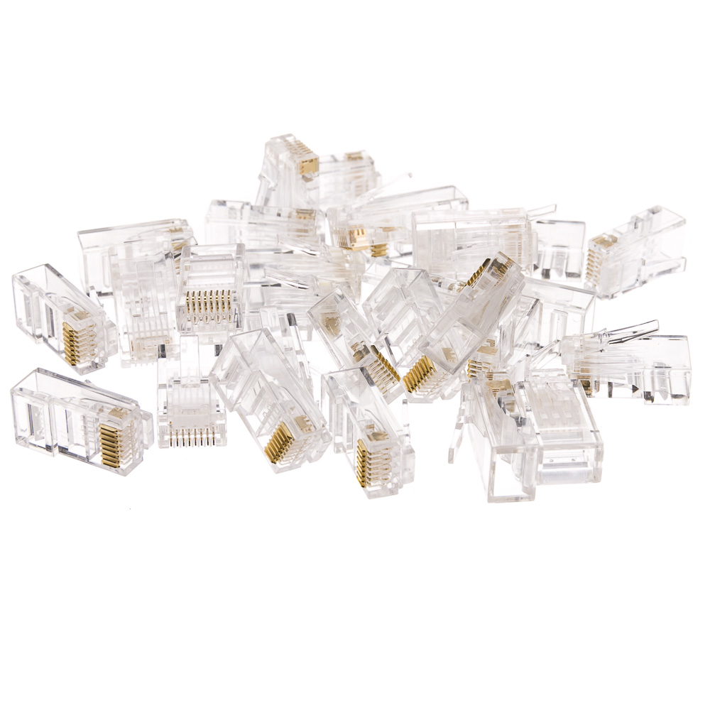 Cat6 Rj45 Crimp Connectors Solid Stranded Cable 100 Piece Plug Wiring For And 8p8c Pieces Part