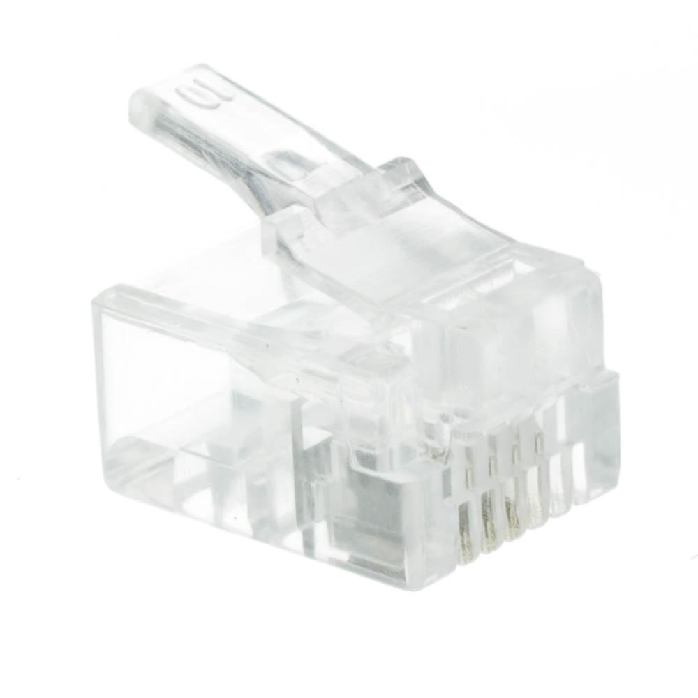 Rj11 6p4c Modular Plug For Stranded Wire Bag Of 50 Data Phone Jack Wiring Crimp Connectors Pieces Part