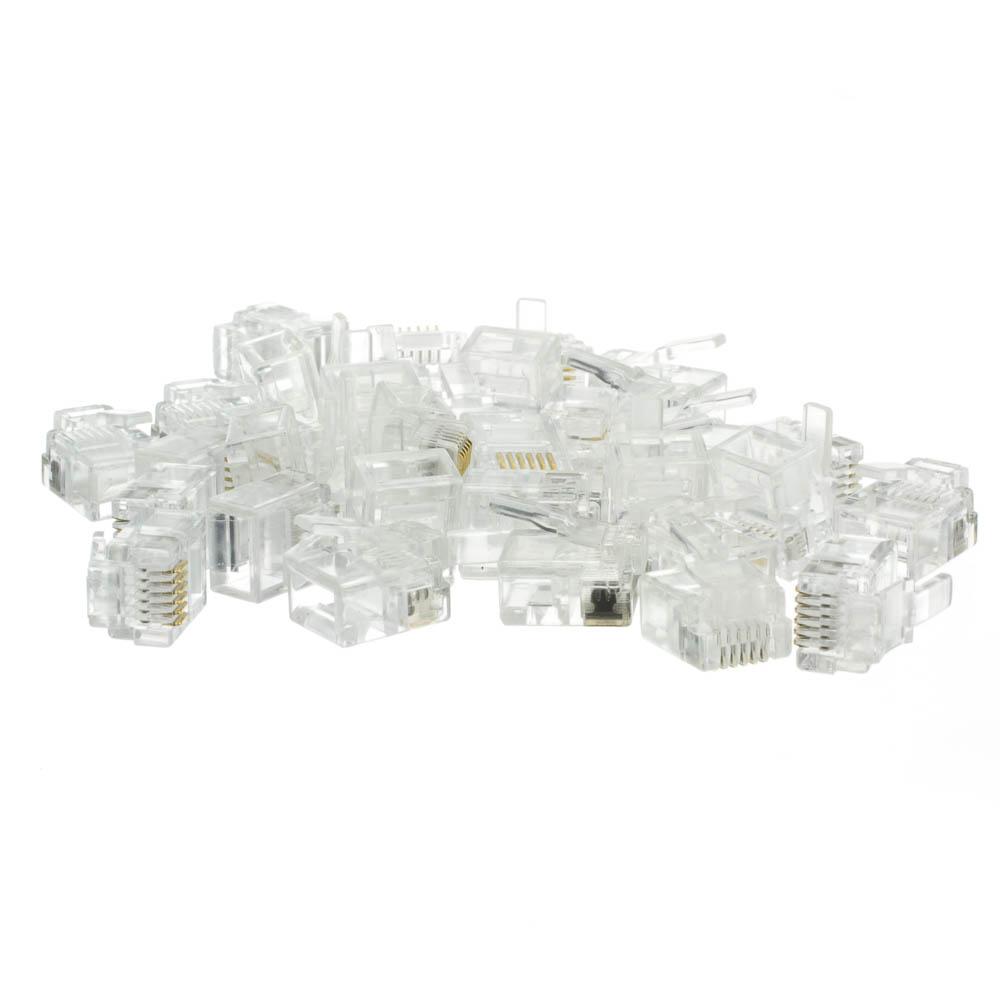 Rj12 6p4c Modular Plug For Flat Wire Bag Of 50 Wiring Diagram Phone Data Crimp Connectors Cable 6p6c Pieces Part