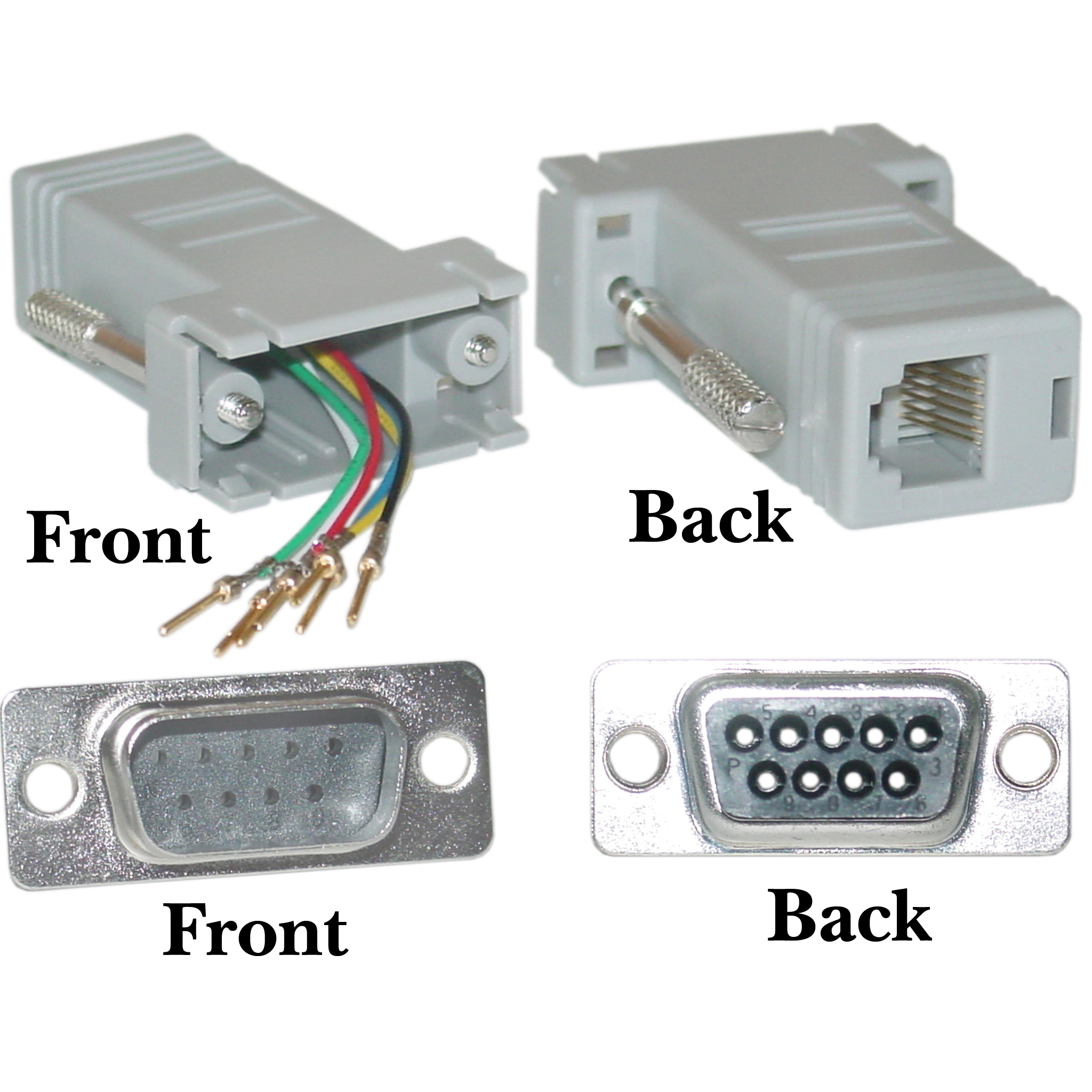 Modular Adapter, DB9 Male to RJ12, Gray